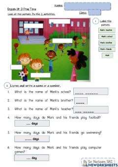 Ficha interactiva Year 2: Free Time (Page 64)