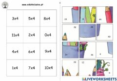 Interactive worksheet Tabuada do 4