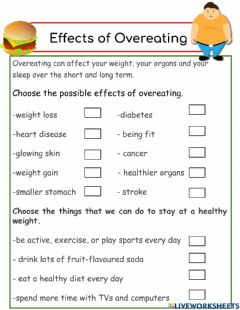 Interactive worksheet Effects of Overeating