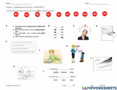 Interactive worksheet Listening to Classroom Instructions