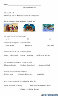 Interactive worksheet The Prodigal Son