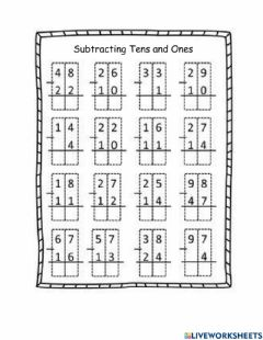 Interactive worksheet Subtraction Tens and Ones No Regrouping