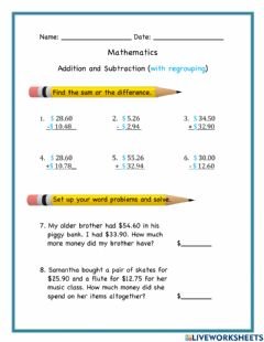 Interactive worksheet Adding and Subracting