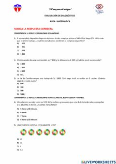 Interactive worksheet Prueba diagnostica matematica