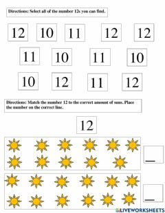 Interactive worksheet The Number 12