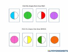 Interactive worksheet Half and Whole