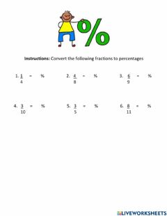 Interactive worksheet Fraction to Percents