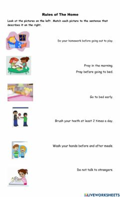 Interactive worksheet Rules at Home