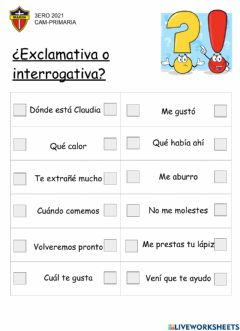 Interactive worksheet Oraciones exclamativas e interrogativas