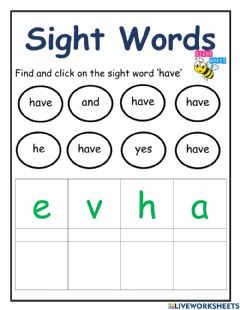 Interactive worksheet Sight Word -have-
