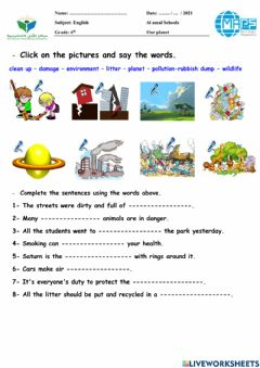 Ficha interactiva Our planet vocabulary family and friends 5