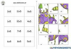 Interactive worksheet Puzzle tabuada do 5