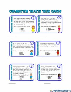 Interactive worksheet Character traits