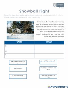Interactive worksheet Cause and effect - Reading comprehension