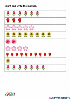 Interactive worksheet Count and write the number.