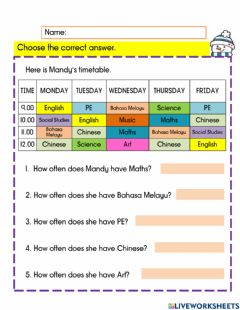 Interactive worksheet Mandy's timetable
