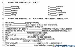 Interactive worksheet Play-do-go and sports