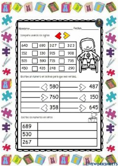 Interactive worksheet Signos mayor y menor que