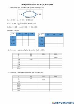 Interactive worksheet Multiplicar e dividir por 0,1- 0,01 e 0,001 - 1