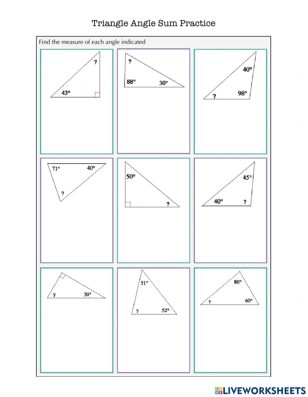 Triangle Angle Sum Practice worksheet Regarding Triangle Angle Sum Worksheet