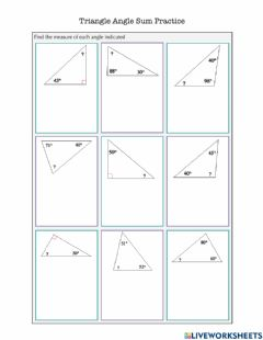 Interactive worksheet Triangle Angle Sum Practice