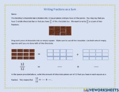 Interactive worksheet Write Fractions as Sums
