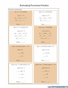 Interactive worksheet Evaluating Functions Practice