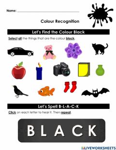 Interactive worksheet Colour Recognition- Black