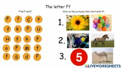 Interactive worksheet The Letter Ff