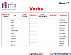 Ficha interactiva Verbs and Family & Relationships Week 17