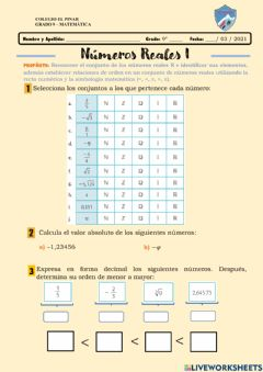 Interactive worksheet Números reales I
