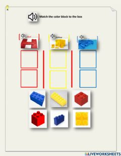 Interactive worksheet Sorting color block - blue, yellow, red - DC,  Emma, George, Dashly, Neo, LN - 1.02