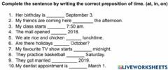 Interactive worksheet Prepositions of Time