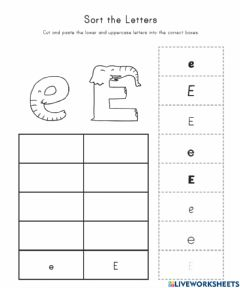 Interactive worksheet Upper and Lowercase  Sort