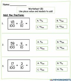Interactive worksheet Add fraction with denominator of 10 and 100