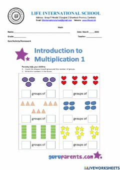 Ficha interactiva Concept of Multiplication - Group