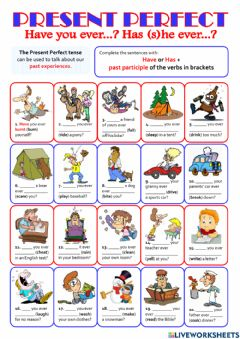 Interactive worksheet PRESENT PERFECT - have you ever...?