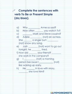 Ficha interactiva Verb be or present simple