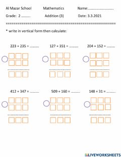 Interactive worksheet Addition of 3 digits numbers