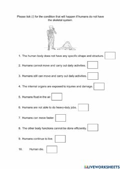 Interactive worksheet Importance of Skeletal System to Human Body