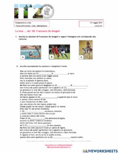 Interactive worksheet Comprensione orale: football