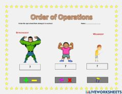 Interactive worksheet Order of operations 2