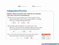 Interactive worksheet Solve two-step problems
