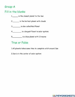 Interactive worksheet Solar system G-A