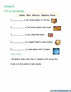 Interactive worksheet Solar system G-B