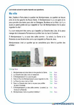 Interactive worksheet Ma ville