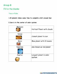 Interactive worksheet Solar system G-C