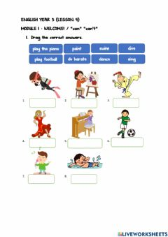 Interactive worksheet Year 3 Module 1 : Lesson 4