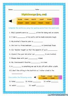 Interactive worksheet Diphthongs (ou and ow)