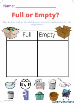 Interactive worksheet Full or Empty